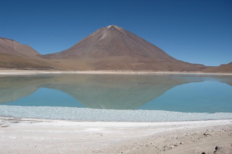 Laguna verde bij de grens met Chili - Bolivia