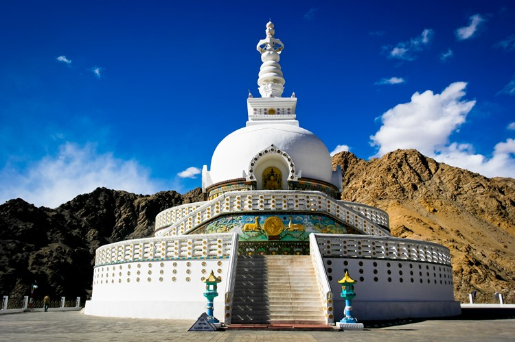 Shanti Stupa in Chanspa, Leh, Ladakh, India