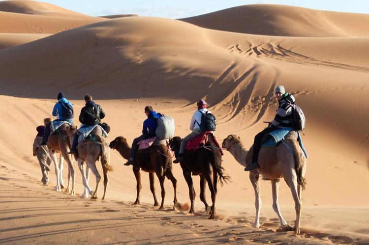 Kameelrijden in de Erg Chebbi - Marokko