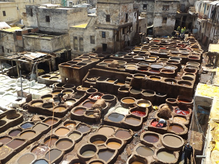 De leerlooierijen van Fes - Marokko