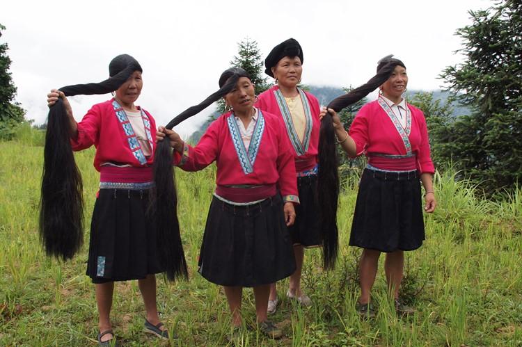 Lange haren van de Dazhai in Ping'an