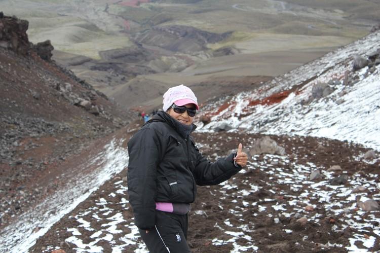 Klimmen naar de 'refugio' op 4800 meter - Cotopaxi - Ecuador