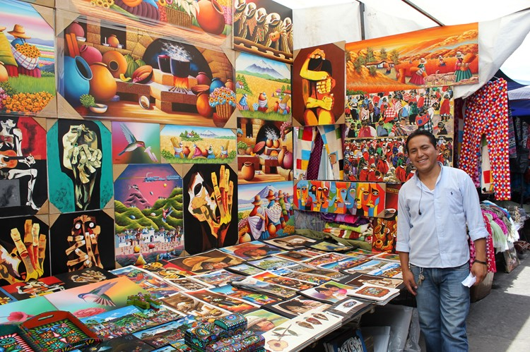 De kunstnijverheidmarkt van Otavalo - Ecuador