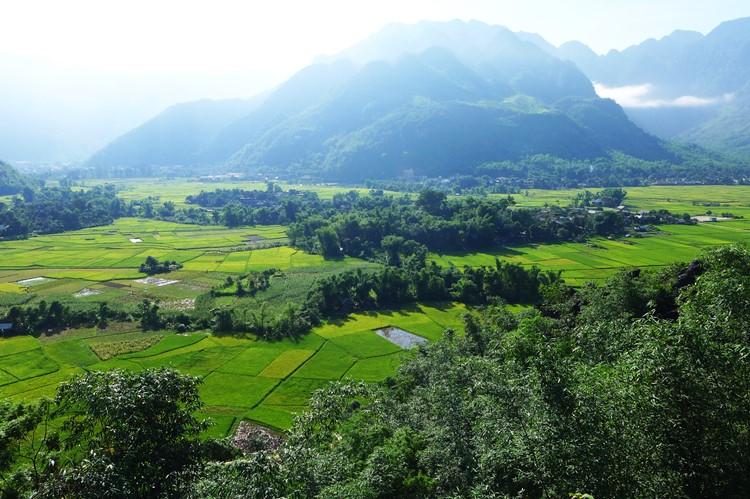 Het uitzicht van Mai Chau, Vietnam
