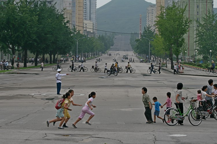 Straatbeeld in Kaesong