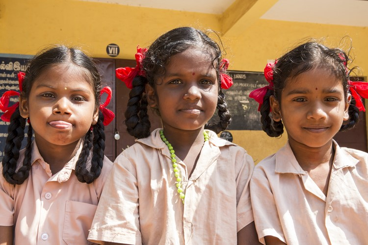Schoolkinderen in Pondicherry, India