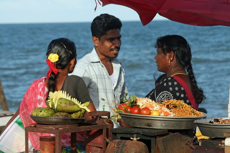 Pondicherry, op de boulevard, India