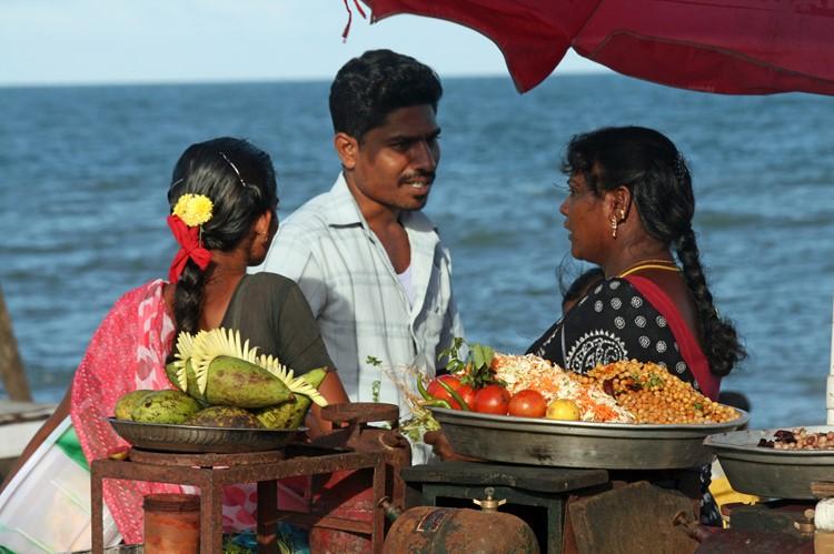Pondicherry, op de boulevard, India