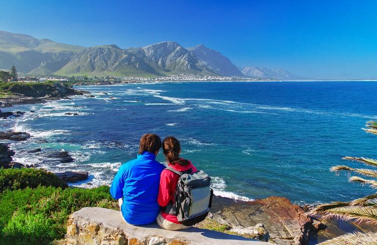 Uitzicht op de oceaan bij Hermanus - reis Zuid-Afrika