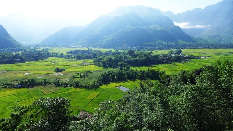 Uitzicht bij Mai Chau, Vietnam