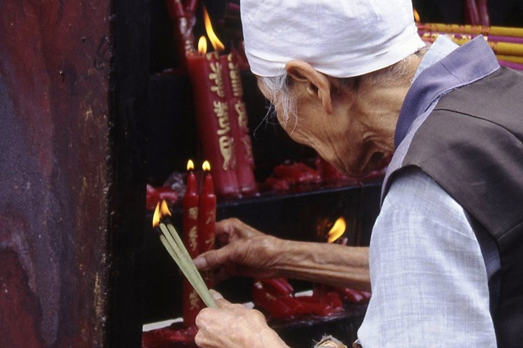 Bij een tempel in Kunming